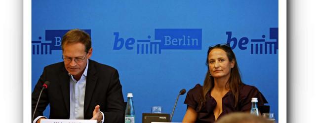 Michael Müller, SPD und Regierender Bürgermeister von Berlin, hat für echtes Ballett gar nichts übrig. Neben ihm Sasha Waltz, sie gilt als ausgebrannte freie Choreografin, soll aber das Staatsballett Berlin übernehmen. Foto: Zeisberg