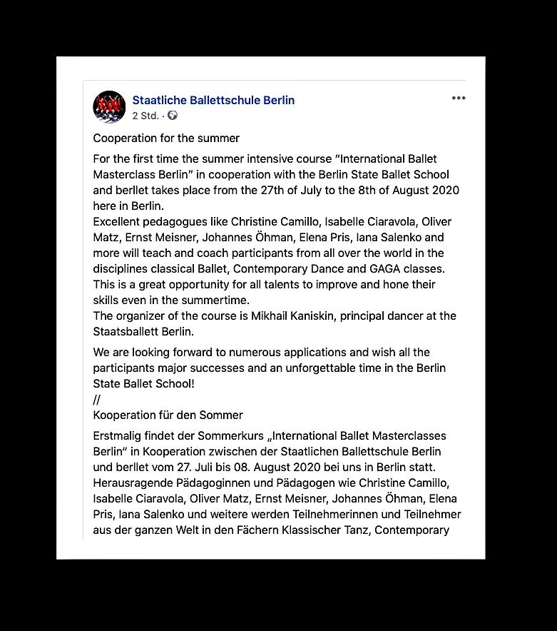 Die Staatliche Ballettschule Berlin und beriet